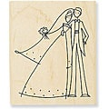 Stampendous Wood-mounted 'Happy Couple' Rubber Stamp