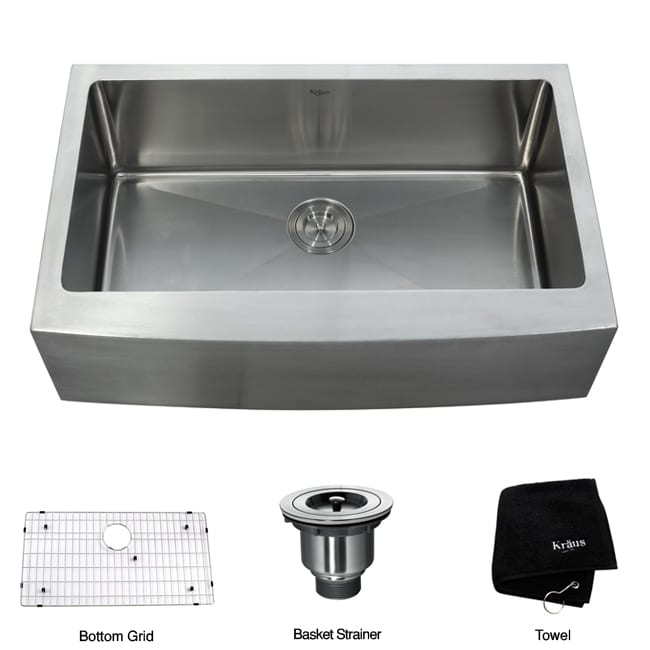 Kraus 33-inch Farmhouse Apron Single-bowl Steel Kitchen Sink ...