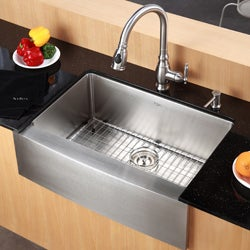 20 Inch Farmhouse Sink : Kraus 33-inch Farmhouse Apron Single-bowl Steel Kitchen Sink ...