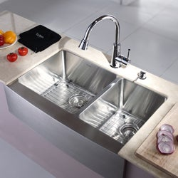 Kraus 33-inch Farmhouse Apron Double-bowl Stainless Steel Kitchen Sink