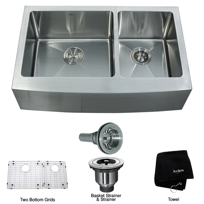 Kraus 33 inch Farmhouse Apron Double bowl Steel Kitchen Sink Overstock Shop
