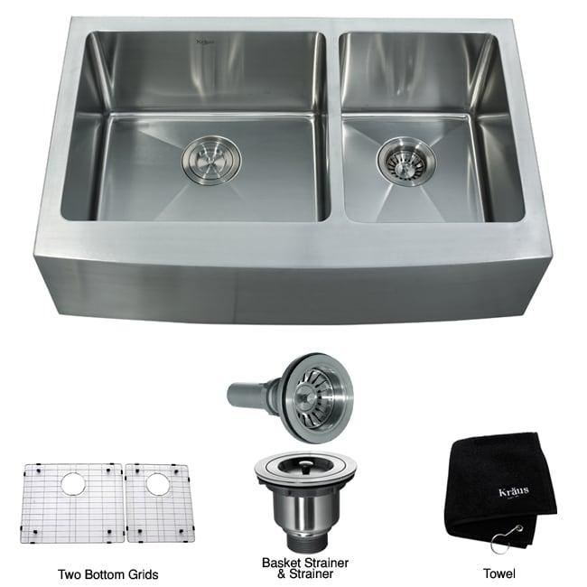 33 Inch Farmhouse Sink : Kraus 33-inch Farmhouse Apron Double-bowl Steel Kitchen Sink ...