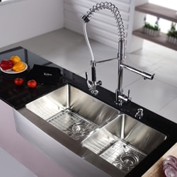 Kraus 36-inch Farmhouse Apron Double-bowl Stainless Steel Kitchen Sink