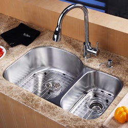 Kraus 32-Inch Undermount Stainless-Steel 16-Gauge Two-Bowl Kitchen Sink