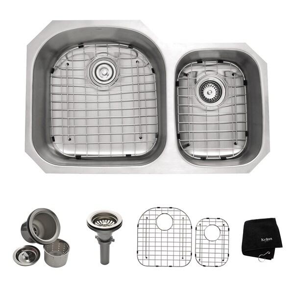 Kraus 32-inch Undermount Steel Two-Bowl Kitchen Sink