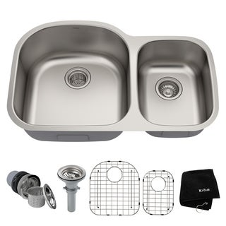 Kraus 32-inch Undermount Steel Two-Bowl Kitchen Sink