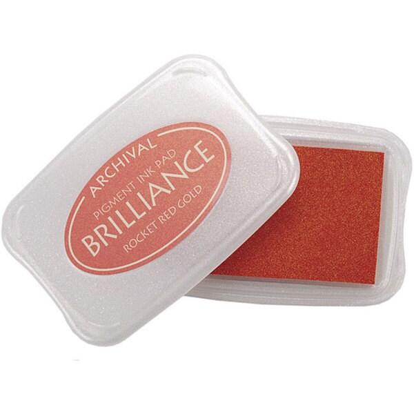Tsukineko Brilliance Rocket Red Gold Pigment Ink Pad