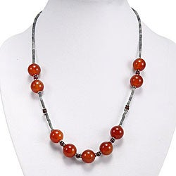Handmade Carnelian Agate, Silver and Jade Necklace (Thailand)