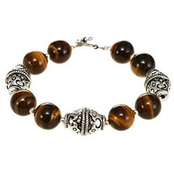 Silvertone and Tiger Eye Beaded Bracelet (Thailand)