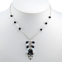 Black Onyx, Glass Silver Lariat Necklace (Thailand)
