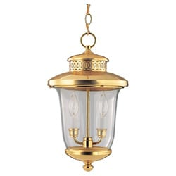 Carolton Polished Brass 2-light Outdoor Pendant