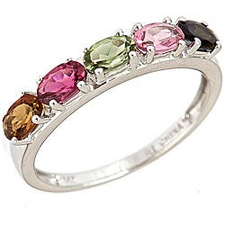 D'Yach 14k White Gold Multi-colored Tourmaline Ring