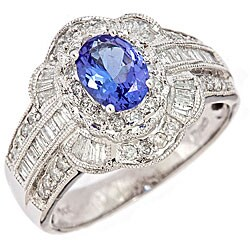 Anika and August 14k White Gold Tanzanite and 3/4ct TDW Diamond Ring (H-I, I2)