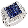 D'Yach 14k White Gold Blue Sapphire and Diamond Ring