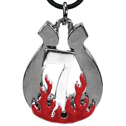Pewter 'Lucky 7' Horseshoe and Flame Necklace