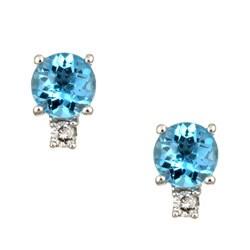 Kabella 14k White Gold Blue Topaz and 1/10ct TDW Diamond Stud Earrings