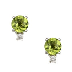 Kabella 14k White Gold Peridot and 1/10ct TDW Diamond Stud Earrings