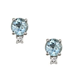 Kabella 14k White Gold Aquamarine and 1/10ct TDW Diamond Stud Earrings