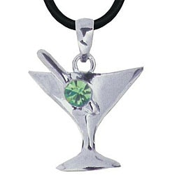Pewter Green Austrian Crystal Sweet Martini Necklace