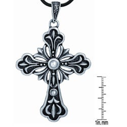 Pewter Ornate Cross Necklace