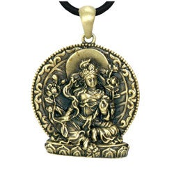 Goldtone Pewter Green Tara Buddha Necklace