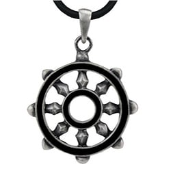 Pewter Dharmacakra Eastern Wheels Necklace