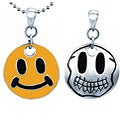 Pewter Double-sided Happy Face Necklace