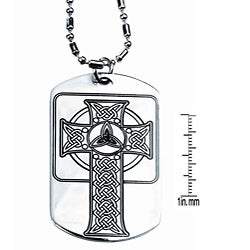 Pewter Celtic Cross Dog Tag Necklace