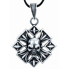 Pewter Fleur de Lis-inspired Skull Necklace