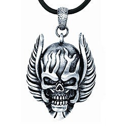 Pewter Flaming Skull with Wings Necklace