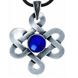 Pewter Blue Crystal Celtic Knot Necklace
