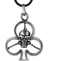 Pewter Clover Skull Necklace