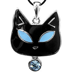 Pewter Blue Austrian Crystal Tiffany Cat Necklace