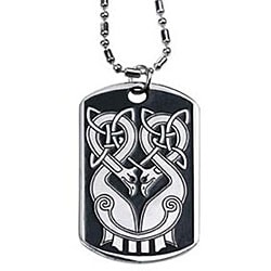 Pewter Skull Dog Tag Necklace