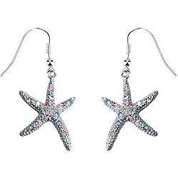Pewter Austrian Crystal Starfish Earrings