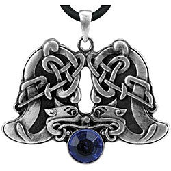 Pewter Blue Austrian Crystal Celtic Animal Necklace