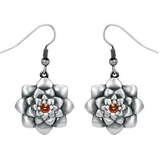 Pewter Austrian Crystal Lotus Flower Earrings