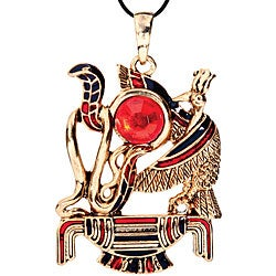 Pewter Red Cubic Zirconia Thoth Necklace
