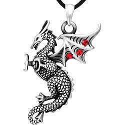 Pewter Red Cubic Zirconia Falkor Dragon Necklace