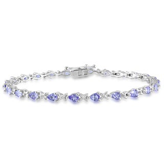 Miadora Sterling Silver Tanzanite Tennis-style Bracelet