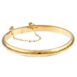 Sterling Essentials 14K Gold over Silver Child's Engraved Bangle