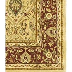 Handmade Mahal Ivory/ Rust New Zealand Wool Rug (9'6 x 13'6)