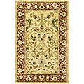 Handmade Mahal Ivory/ Rust New Zealand Wool Runner (2'6 x 4')