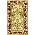 Handmade Mahal Ivory/ Rust New Zealand Wool Rug (3' x 5')