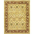 Handmade Mahal Ivory/ Rust New Zealand Wool Rug (5' x 8')