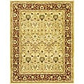Handmade Mahal Ivory/ Rust New Zealand Wool Rug (5' x 8')