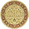 Handmade Mahal Ivory/ Rust New Zealand Wool Rug (6' Round)