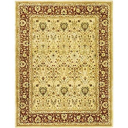 Handmade Mahal Ivory/ Rust New Zealand Wool Rug (8'3 x 11')