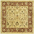 Handmade Mahal Ivory/ Rust New Zealand Wool Rug (6' Square)
