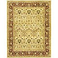 Handmade Mahal Ivory/ Rust New Zealand Wool Rug (7'6 x 9'6)